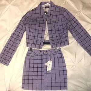 Boohoo lilac grid detail jacket and skirt set